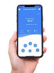 Smartphone applicatie voor beheer full inverter warmtepomp